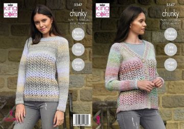 King Cole Ladies Sweater & Cardigans Chunky Knitting Pattern , 5547